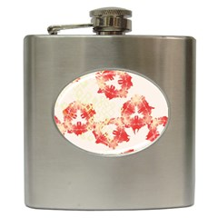 Pattern Flower Red Plaid Green Hip Flask (6 Oz)