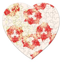 Pattern Flower Red Plaid Green Jigsaw Puzzle (heart)