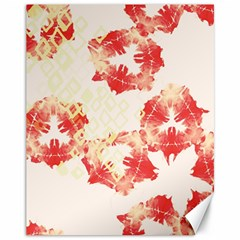 Pattern Flower Red Plaid Green Canvas 11  X 14
