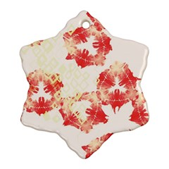 Pattern Flower Red Plaid Green Snowflake Ornament (two Sides)