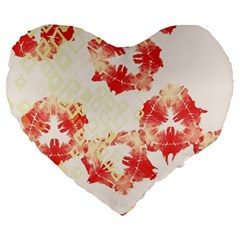 Pattern Flower Red Plaid Green Large 19  Premium Flano Heart Shape Cushions