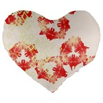 Pattern Flower Red Plaid Green Large 19  Premium Flano Heart Shape Cushions Front