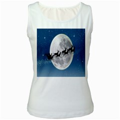 Santa Claus Christmas Fly Moon Night Blue Sky Women s White Tank Top