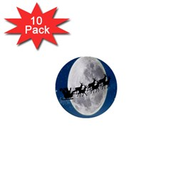 Santa Claus Christmas Fly Moon Night Blue Sky 1  Mini Buttons (10 Pack)