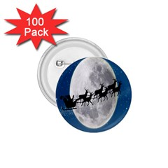 Santa Claus Christmas Fly Moon Night Blue Sky 1 75  Buttons (100 Pack)