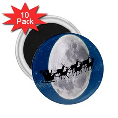 Santa Claus Christmas Fly Moon Night Blue Sky 2 25  Magnets (10 Pack)