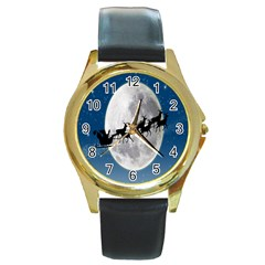 Santa Claus Christmas Fly Moon Night Blue Sky Round Gold Metal Watch
