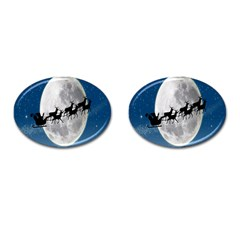 Santa Claus Christmas Fly Moon Night Blue Sky Cufflinks (oval)