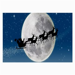 Santa Claus Christmas Fly Moon Night Blue Sky Large Glasses Cloth
