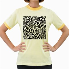 Psychedelic Zebra Pattern Black Women s Fitted Ringer T Shirts