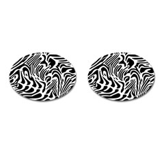 Psychedelic Zebra Pattern Black Cufflinks (oval)
