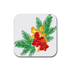 New Year Christmas Bells Tree Rubber Coaster (square)