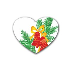 New Year Christmas Bells Tree Rubber Coaster (heart)