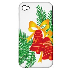 New Year Christmas Bells Tree Apple Iphone 4/4s Hardshell Case (pc+silicone)