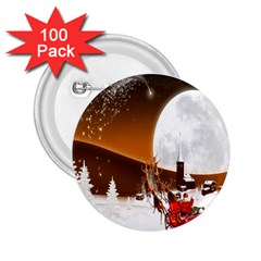 Santa Claus Christmas Moon Night 2 25  Buttons (100 Pack)