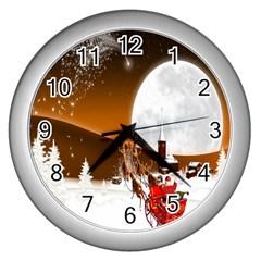 Santa Claus Christmas Moon Night Wall Clocks (silver)