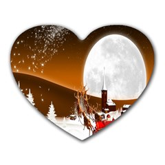 Santa Claus Christmas Moon Night Heart Mousepads
