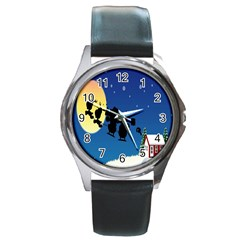 Santa Claus Christmas Sleigh Flying Moon House Tree Round Metal Watch