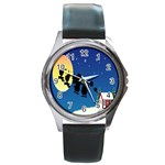 Santa Claus Christmas Sleigh Flying Moon House Tree Round Metal Watch Front