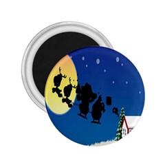 Santa Claus Christmas Sleigh Flying Moon House Tree 2 25  Magnets