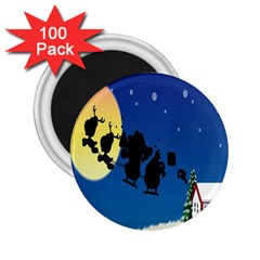 Santa Claus Christmas Sleigh Flying Moon House Tree 2 25  Magnets (100 Pack)