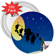 Santa Claus Christmas Sleigh Flying Moon House Tree 3  Buttons (100 Pack)