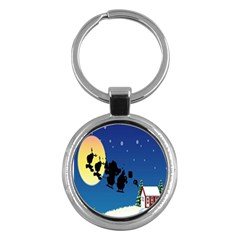 Santa Claus Christmas Sleigh Flying Moon House Tree Key Chains (round)