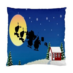 Santa Claus Christmas Sleigh Flying Moon House Tree Standard Cushion Case (two Sides)