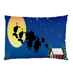 Santa Claus Christmas Sleigh Flying Moon House Tree Pillow Case (two Sides)