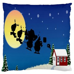 Santa Claus Christmas Sleigh Flying Moon House Tree Large Cushion Case (two Sides)