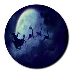 Santa Claus Christmas Night Moon Happy Fly Round Mousepads