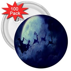 Santa Claus Christmas Night Moon Happy Fly 3  Buttons (100 Pack)