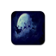 Santa Claus Christmas Night Moon Happy Fly Rubber Square Coaster (4 Pack)