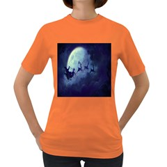 Santa Claus Christmas Night Moon Happy Fly Women s Dark T Shirt