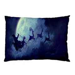 Santa Claus Christmas Night Moon Happy Fly Pillow Case (two Sides)