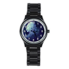 Santa Claus Christmas Night Moon Happy Fly Stainless Steel Round Watch