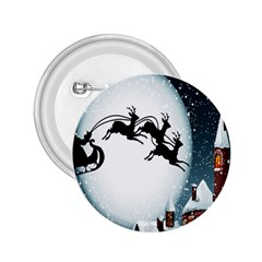 Santa Claus Christmas Snow Cool Night Moon Sky 2 25  Buttons