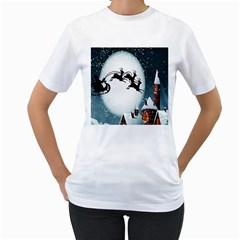 Santa Claus Christmas Snow Cool Night Moon Sky Women s T Shirt (white) (two Sided)