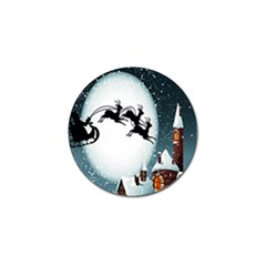 Santa Claus Christmas Snow Cool Night Moon Sky Golf Ball Marker (4 Pack)
