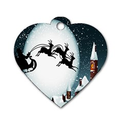 Santa Claus Christmas Snow Cool Night Moon Sky Dog Tag Heart (one Side)