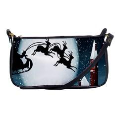 Santa Claus Christmas Snow Cool Night Moon Sky Shoulder Clutch Bags
