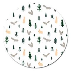 Squirrel Rabbit Tree Animals Snow Magnet 5  (round)