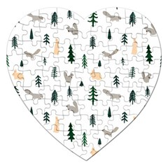 Squirrel Rabbit Tree Animals Snow Jigsaw Puzzle (heart)