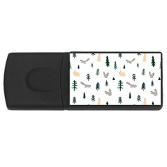 Squirrel Rabbit Tree Animals Snow Rectangular Usb Flash Drive