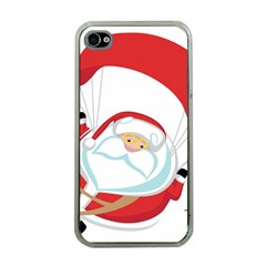Skydiving Christmas Santa Claus Apple Iphone 4 Case (clear)