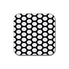 Tile Pattern Black White Rubber Coaster (square)