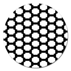 Tile Pattern Black White Magnet 5  (round)