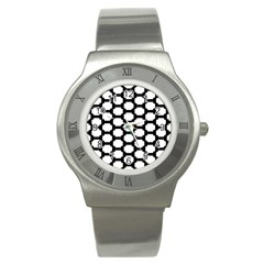 Tile Pattern Black White Stainless Steel Watch