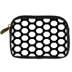 Tile Pattern Black White Digital Camera Cases