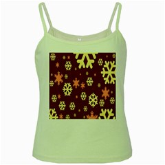 Snowflake Winter Illustration Colour Green Spaghetti Tank